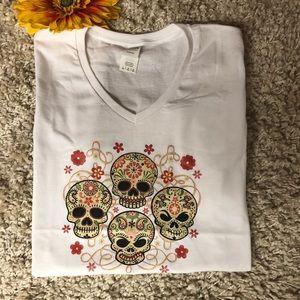 Tops - 😎💀Fun Sugar Skull V-Neck T-Shirts 💀😎
